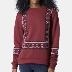 Topshop Embroidered Burgundy Sweatshirt
